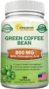 Asquared Nutrition Green Coffee Bean Extract - 180 Capsules - 100 Pure Natural