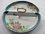 Rare Color Antique Nippon Hand Painted Divided Dish Tray Handle Roses Gold