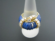 C497 Unique Blue Enamel And Diamond Ring In 18k Yellow Gold