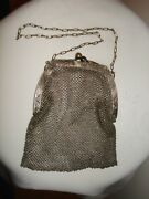 Antique Sterling Tone Ornate Mesh Purse Chain Handbag Wire Woven Germany