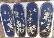 Chinese Black Lacquer 4 Panel Floral Screen