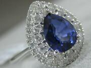 Modern Diamond Sapphire 18k White Gold Double Halo Diana Cocktail Ring Mbrsp838w