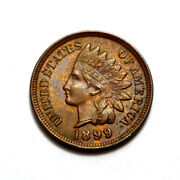 1899 1c Rb Unc Key Date Nat.toning Indian Head One Cent, Us Coin Penny, Scarce