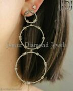 Natural Baguette Diamond Wedding Earrings 925 Silver Vintage Style Jewelry Gifts