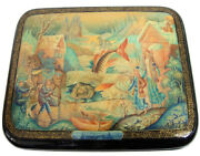 Hand Painted One Of A Kind Russian Lacquer Box Winter Fishing By N. Molodkin