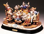 Snow White And Seven Dwarfs Having Dinner Disney W/c.o.a. Capodimonte Laurenz
