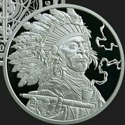 1 Oz Silver Proof Peace Pipe Cannabis .999 Pure Weed Pot Sioux Navajo Indians
