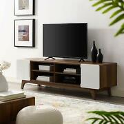 Mid-century Design Tv Stand With Shelves For Tvand039s Up To 70andrdquo In Walnut And White