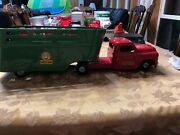 Vintage Structo Toys Farm Green Trailer Animal Stock Red Truck Pressed Steel 26andrdquo