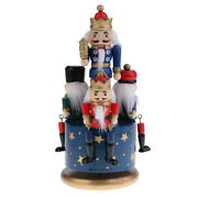 Vintage Wood Nutcracker Soldier Musical Box Wind Up Toy Christmas Decoration