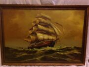 Original Art Frmd Sgnd Ship In Stormy Waters Antique Styled Frame