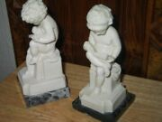 Vintage A. Santini Marble Boy And Girl Reading Books Book Ends Signed 8x3