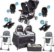 Twins Double Stroller Combo Set 2 Car Seats Playard Two Bases Baby Travel System