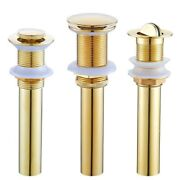 Gold Basin Sink Waste Excrete Copper Pop Up Flip Top Drain Without Overflow Hole