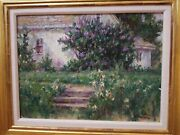 Original Oil Painting Impressionists Country Cottage Garden Signed By John Holub