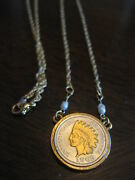 Beautiful 24 In. Indian Head Cent Necklace Gold And Silver Plated And Pearl Accents