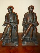 Antique Signed Pompeian Bronze President Abraham Lincoln Bookends Great Patina