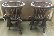 Set Of 2 Vintage Equestrian Carved Wooden Tables Planters W/ 3 Stallion Heads