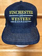 Otto Winchester And Western Railroad Vintage Cap Hat Denim Snap Back