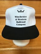 Winchester And Western Railroad Vintage Cap Hat Black White Snap Back