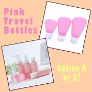 Variety Of Pink Empty Plastic Travel Size Cosmetic Lotion And Perfume Bottle Set