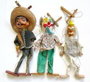 Lot 3 Vtg Marionettes Puppets Mexican Bandit Clown Painted Bisque Heads Wood