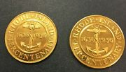 Exonumia Two Diff 1936 Ri Tercentenary Medals 10618 Both Very Nice Coins.