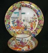 Antique English Chinese Export Design Pearlware Cup, Saucer Under Plate Colorful