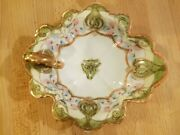 Rc Noritake Nippon Hand Painted Handled Scalloped Bowl With Loop Handle 7.5x7x2
