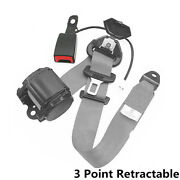 Car Suv 3point Grey Retractable Seat Belt W/ Safe Warning Cable Nylon Strap Iron