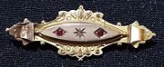 15 Carat Sold Gold Ruby And Diamond Vintage Victorian Antique Mourning Brooch