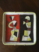 Vintage Mid Century Guido Gambone, Polychrome Earthenware Plate, Signed, Italy