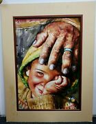 Vintage Fine Quality Watercolor Pray Bless Young Boy Catholic South American