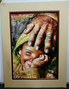 Vintage Fine Watercolor Priest Pray Bless Young Boy Catholic South American