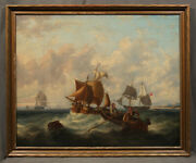Early 20th Century Ocean Scene With Fishermen In Stormy Seas Oil Painting