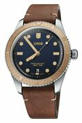 New Oris Diver 65 Blue Dial Brown Leather Strap Mens Watch 73377074355ls