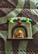 Vintage Christmas Button Cover Of Fire Place Mantel Hanging Stockings And Garland
