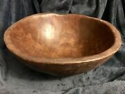 Antique Primitive Hand Carved Wood Dough Bowl 16.5andrdquo Out Of Round Early 1800and039s