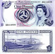 Isle Of Man 1 Pound Banknote World Paper Money Currency Pick P40c 2009 Queen