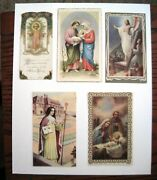 5 Vintage Gorgeous Christian Holy Cards - Made In France,italy And Us