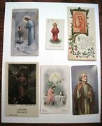 6 Vintage Gorgeous Christian Holy Cards - Made In France,italy And English