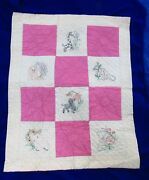 Antique Vintage Baby Quilt From 1940s-50s, Hand Pieced, Quilted, And Embroidered