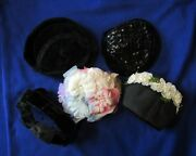 Vintage Ladies Hats From 1940s-1950s-1960s Era, Lot Of 5 Hats