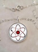 Atom Atomic Model Physics Science Nerd Math .925 Sterling Silver Necklace