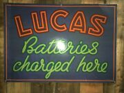 Vintage Lucas Batteries Charged Here Sign Automobilia Circa 1930s