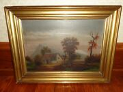 Vintage Oil On Canvas Painting Of A Western Landscape And Church W A Large Cross