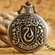 Vintage Harry Potter Slytherin Cosplay Pendant Pocket Watch Necklace Chain Gift