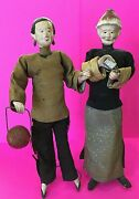 Antique Vintage Asian Chinese China Doll Pair Man And Lady Silk Clothes Chalkware