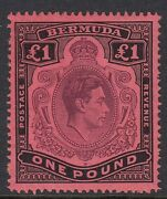 Bermuda-1938-53 Andpound1-sg121ce-broken Lower Right Scroll-unmounted Mint-rare-cat1800
