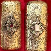 Magnificent Antique Victorian 14k Yellow Gold Heavily Engraved Ruby Match Vesta